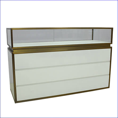 white jewelry display cabinet