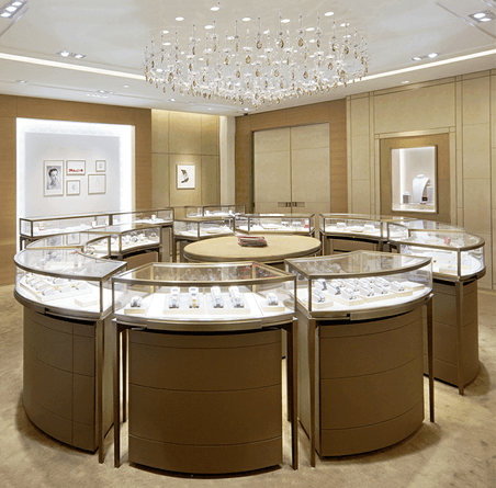 round jewelry shop counter