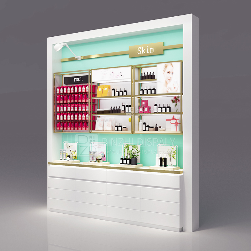 New design high end cosmetic retail wall cabinet wood