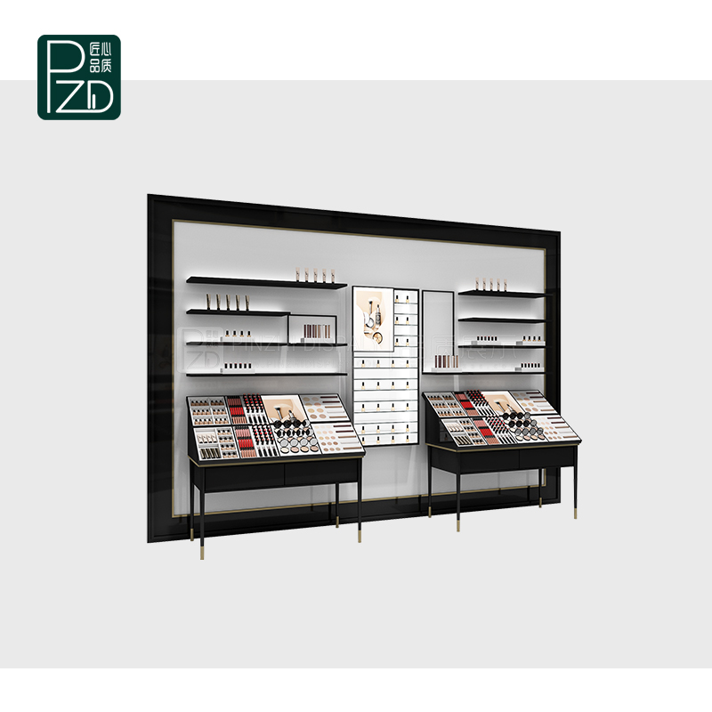 Comtemporary makeup cosmetic counter display stands and showcase