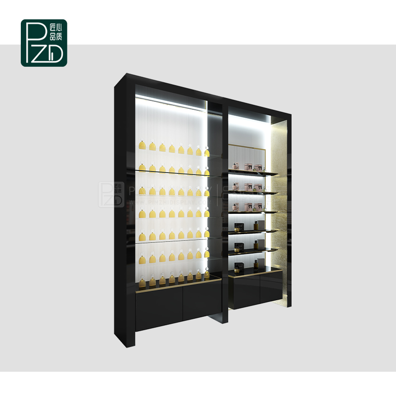 Customized cosmetic makeup showcase perfume glass display showcase