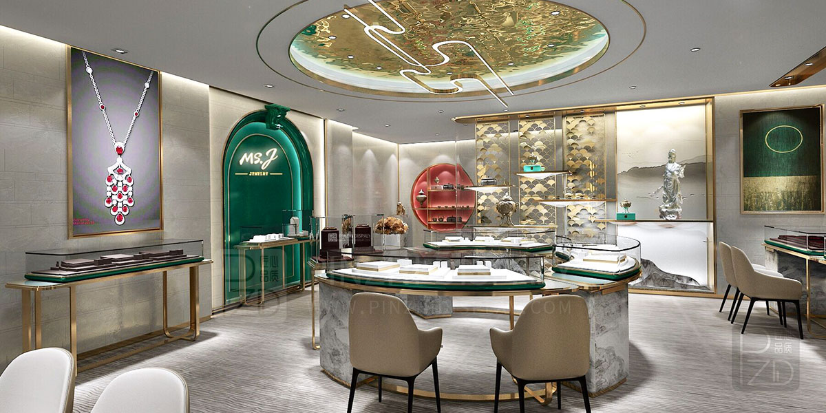 【Chinese style】high end interior design of jewellery shop