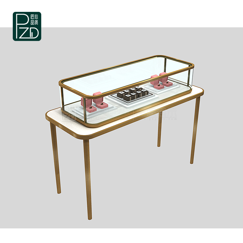 luxury tempered glass jewelry display cabinet for cartier