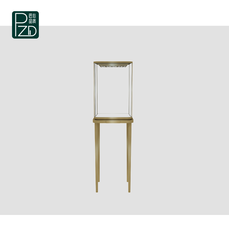 Brushed stainless steel jewelry boutique display cabinet