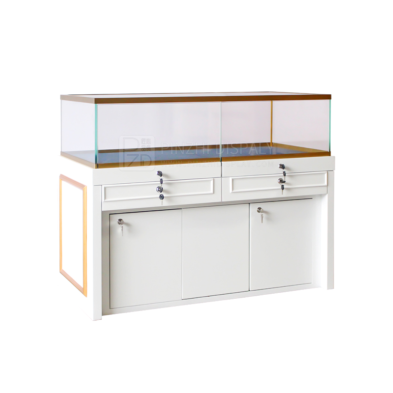 Modern style white wooden jewelry display cases jewellery shop furniture design