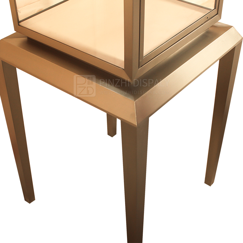 golden metal jewellery counter design for high end showroom