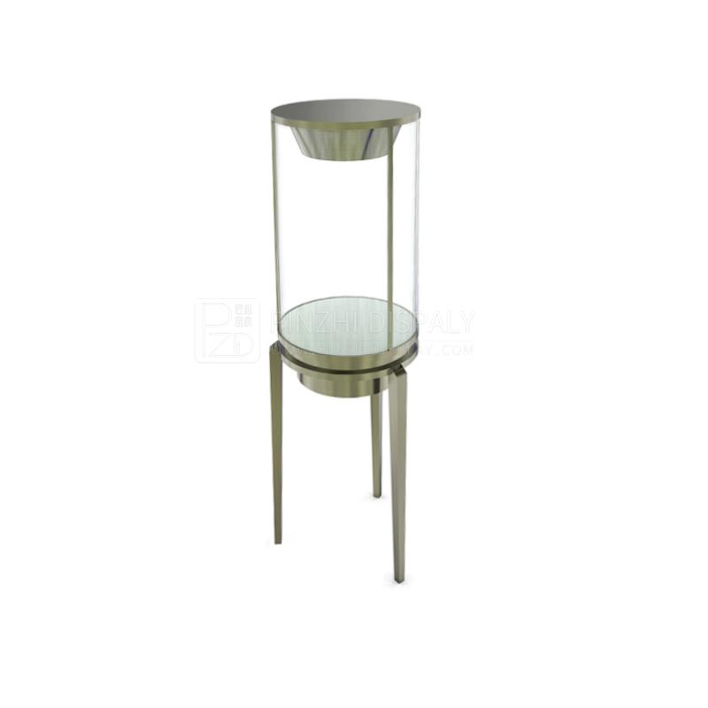 Round free standing glass jewelry display cabinets