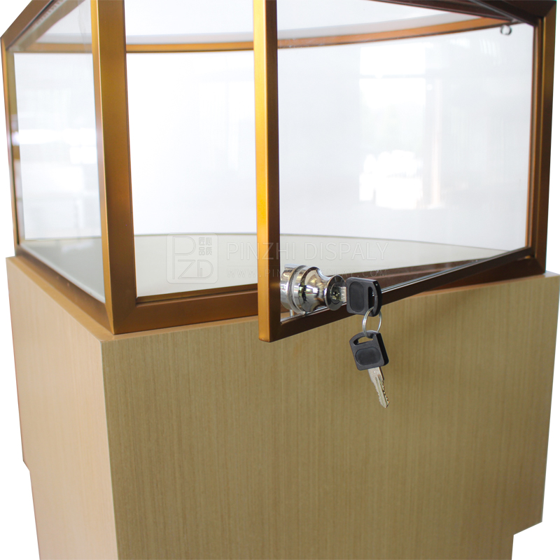 Corner curved jewelry glass showcase  with light