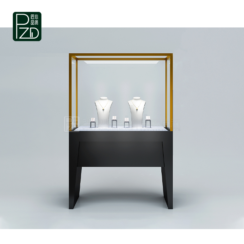 Commercial display cabinets with glass doors for jewelry kiosk