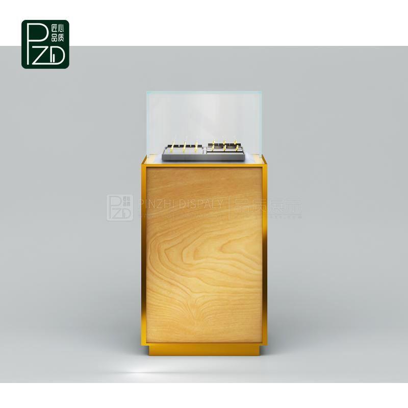 New design wooden jewelry showcase display case pedestal