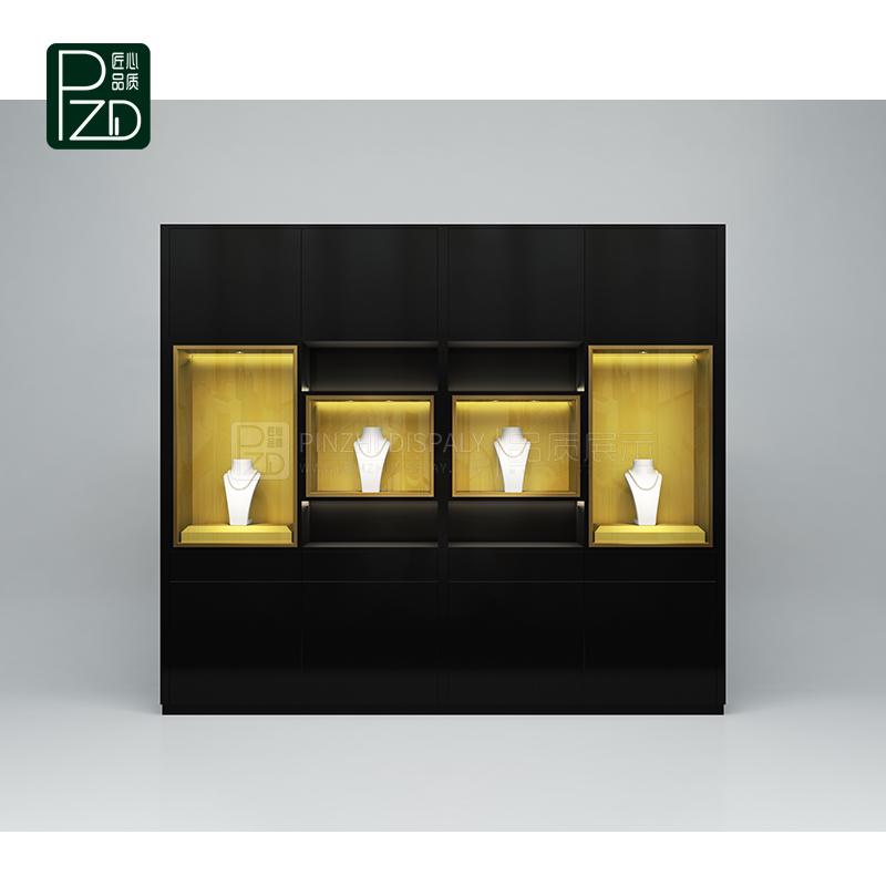 Customized black jewellery wall showcase for jewelry club showroom