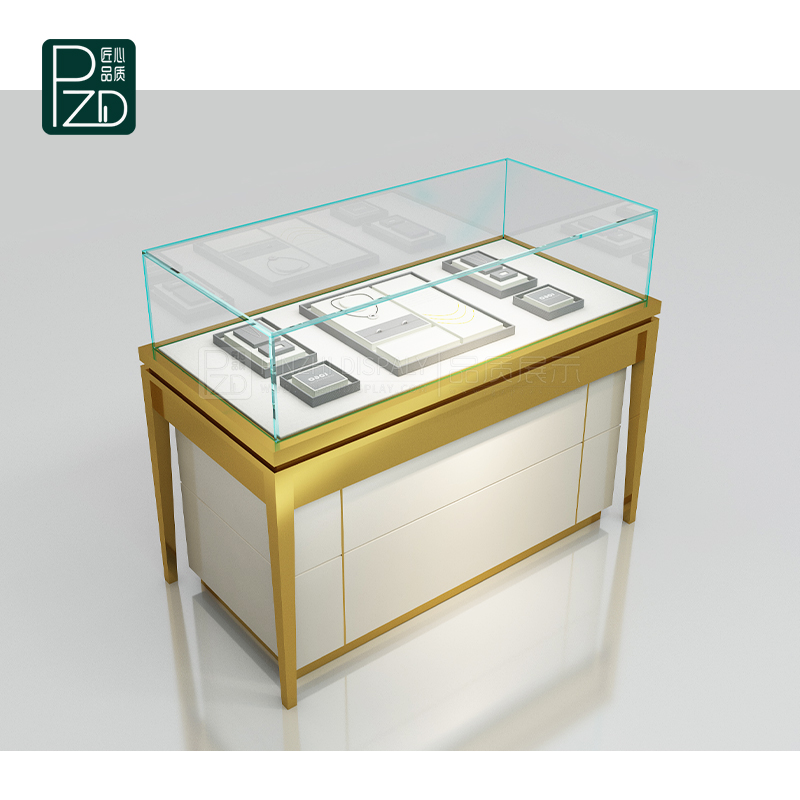 Golden glossy glass jewelry showcase cabinets for retail jewelry stores