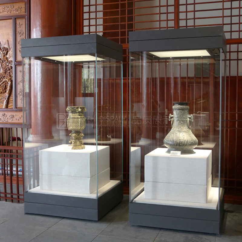 High End Glass Museum Pedestal Display Cases